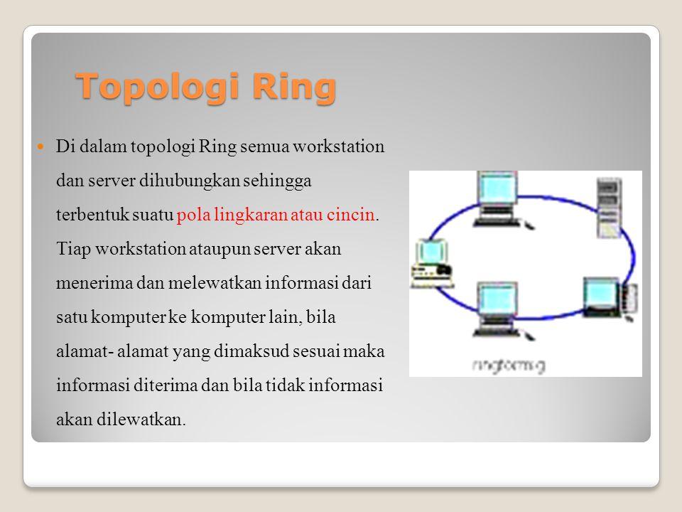 Topologi Ring Di dalam topologi Ring semua workstation dan server dihubungkan sehingga terbentuk suatu pola lingkaran atau cincin.