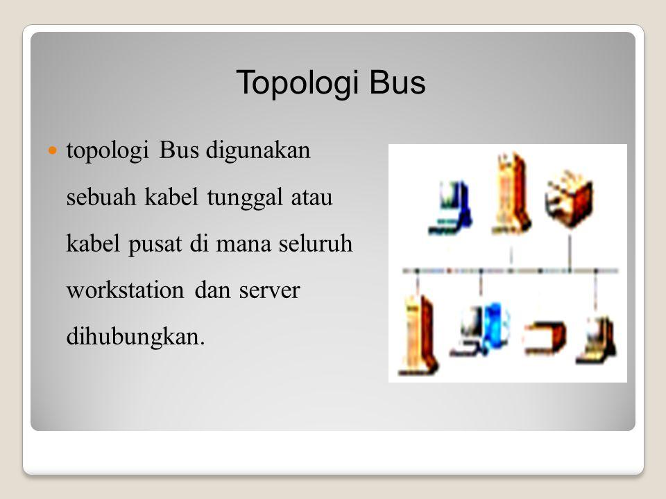 topologi Bus digunakan sebuah kabel tunggal atau kabel pusat di mana seluruh workstation dan server dihubungkan.