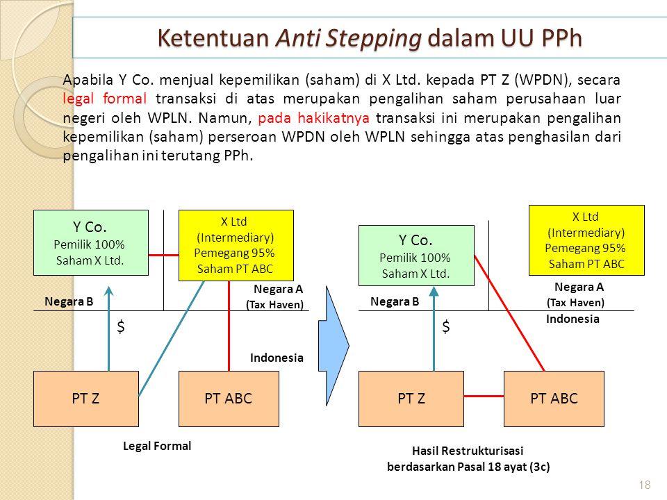 Ketentuan Anti Stepping dalam UU PPh Apabila Y Co. menjual kepemilikan (saham) di X Ltd. kepada PT Z (WPDN), secara legal formal transaksi di atas mer