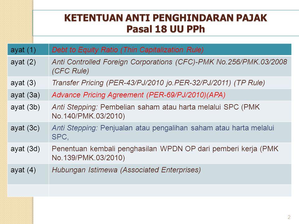 2 KETENTUAN ANTI PENGHINDARAN PAJAK Pasal 18 UU PPh ayat (1)Debt to Equity Ratio (Thin Capitalization Rule) ayat (2)Anti Controlled Foreign Corporatio