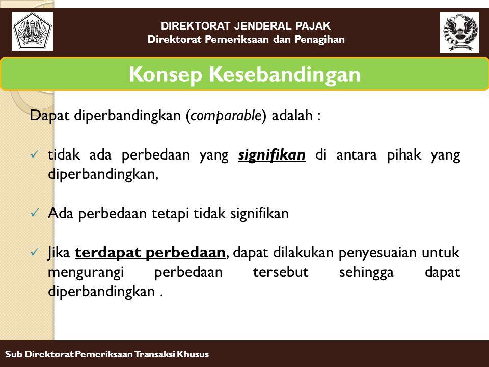 DIREKTORAT JENDERAL PAJAK Direktorat Pemeriksaan dan Penagihan Sub Direktorat Pemeriksaan Transaksi Khusus Dapat diperbandingkan (comparable) adalah :