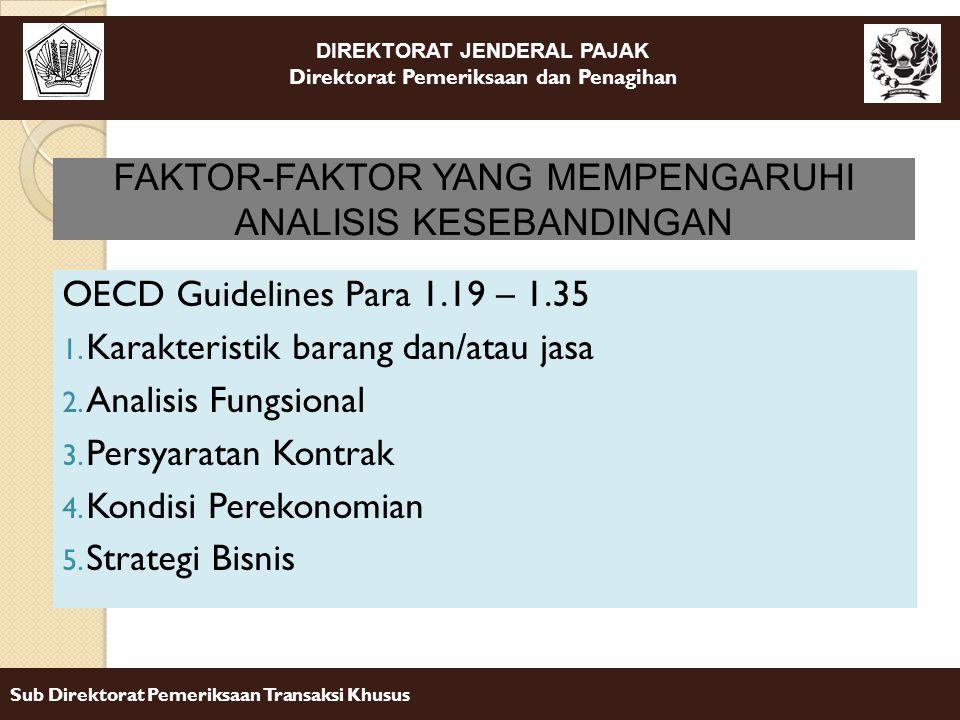 DIREKTORAT JENDERAL PAJAK Direktorat Pemeriksaan dan Penagihan Sub Direktorat Pemeriksaan Transaksi Khusus OECD Guidelines Para 1.19 – 1.35 1. Karakte