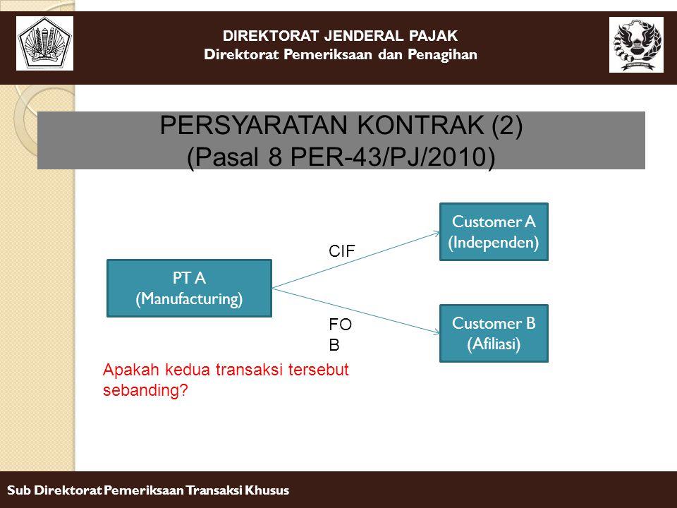 DIREKTORAT JENDERAL PAJAK Direktorat Pemeriksaan dan Penagihan Sub Direktorat Pemeriksaan Transaksi Khusus PERSYARATAN KONTRAK (2) (Pasal 8 PER-43/PJ/