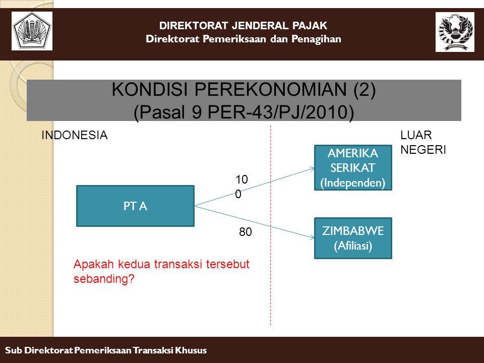 DIREKTORAT JENDERAL PAJAK Direktorat Pemeriksaan dan Penagihan Sub Direktorat Pemeriksaan Transaksi Khusus KONDISI PEREKONOMIAN (2) (Pasal 9 PER-43/PJ