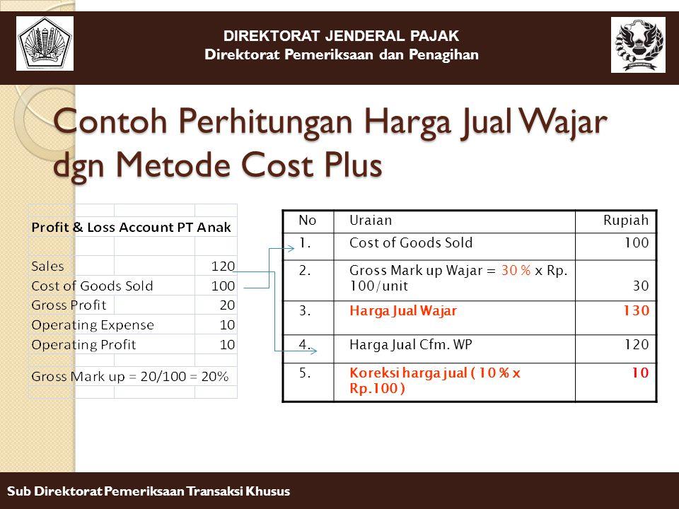 DIREKTORAT JENDERAL PAJAK Direktorat Pemeriksaan dan Penagihan Sub Direktorat Pemeriksaan Transaksi Khusus Contoh Perhitungan Harga Jual Wajar dgn Met