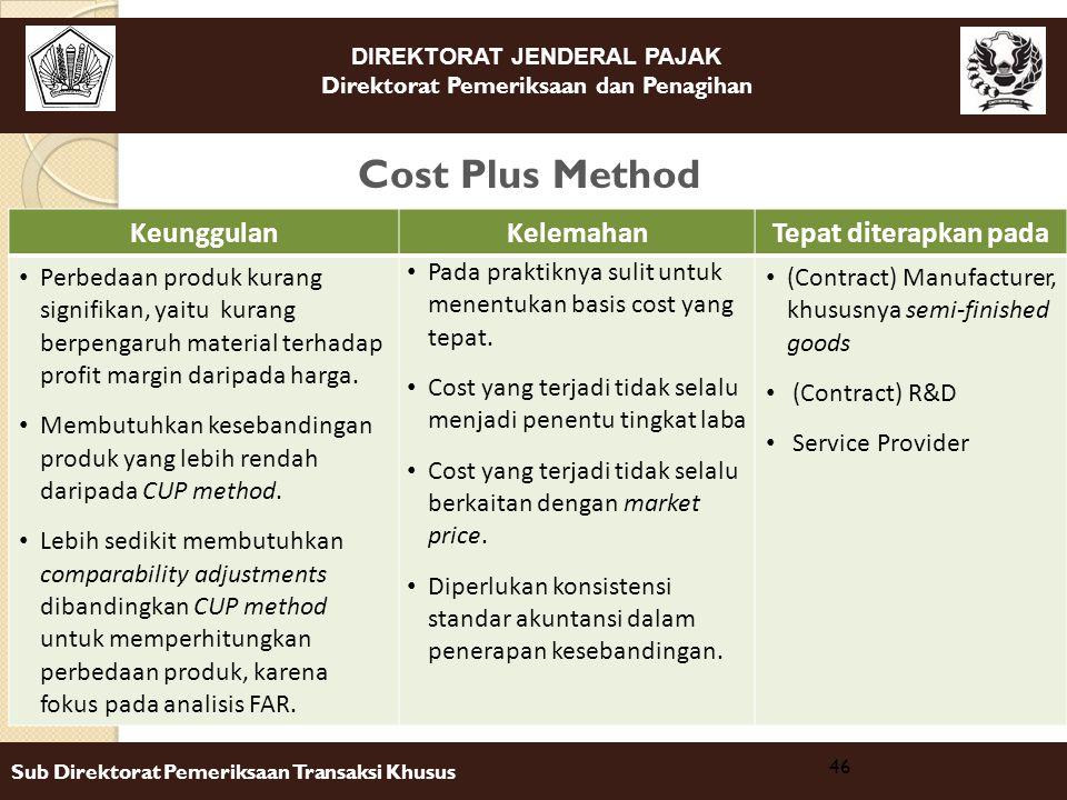 DIREKTORAT JENDERAL PAJAK Direktorat Pemeriksaan dan Penagihan Sub Direktorat Pemeriksaan Transaksi Khusus Cost Plus Method 46 KeunggulanKelemahanTepa