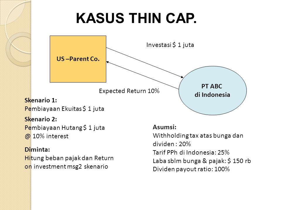 US –Parent Co. PT ABC di Indonesia Skenario 1: Pembiayaan Ekuitas $ 1 juta Skenario 2: Pembiayaan Hutang $ 1 juta @ 10% interest Investasi $ 1 juta Ex