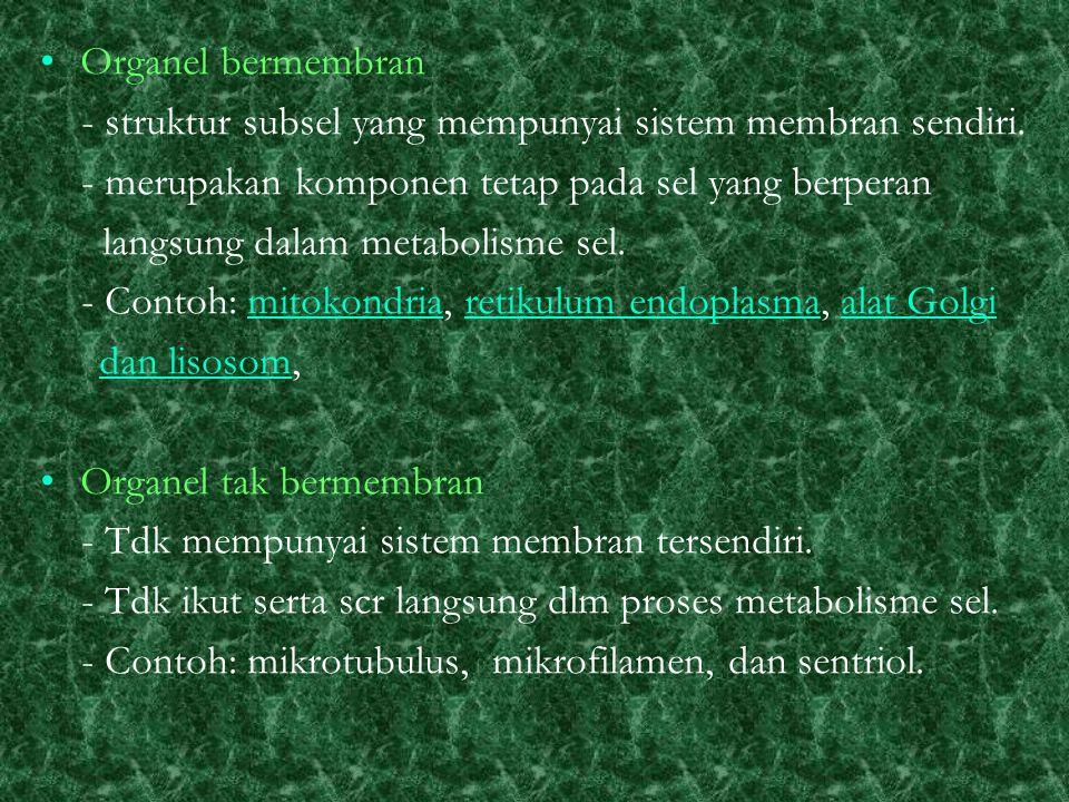 Organel bermembran - struktur subsel yang mempunyai sistem membran sendiri.