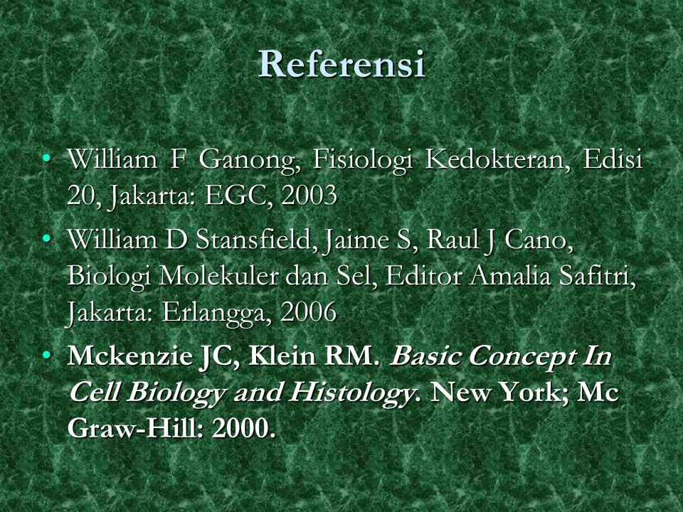 Referensi William F Ganong, Fisiologi Kedokteran, Edisi 20, Jakarta: EGC, 2003William F Ganong, Fisiologi Kedokteran, Edisi 20, Jakarta: EGC, 2003 Wil