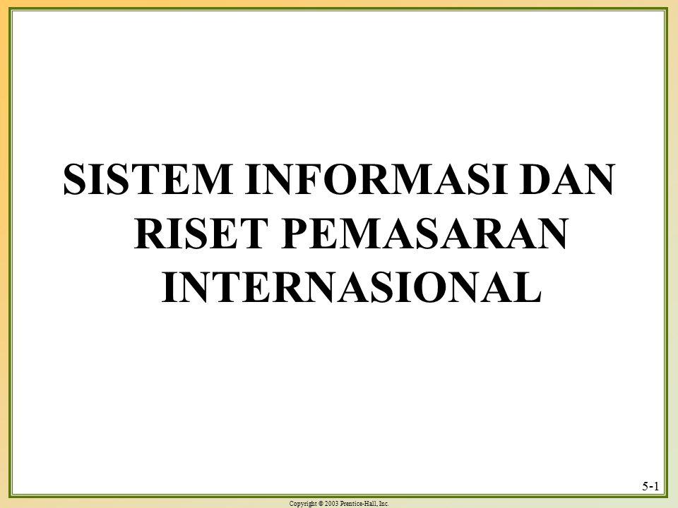 Copyright © 2003 Prentice-Hall, Inc. 5-1 SISTEM INFORMASI DAN RISET PEMASARAN INTERNASIONAL