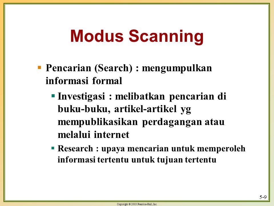 Copyright © 2003 Prentice-Hall, Inc. 5-9 Modus Scanning  Pencarian (Search) : mengumpulkan informasi formal  Investigasi : melibatkan pencarian di b