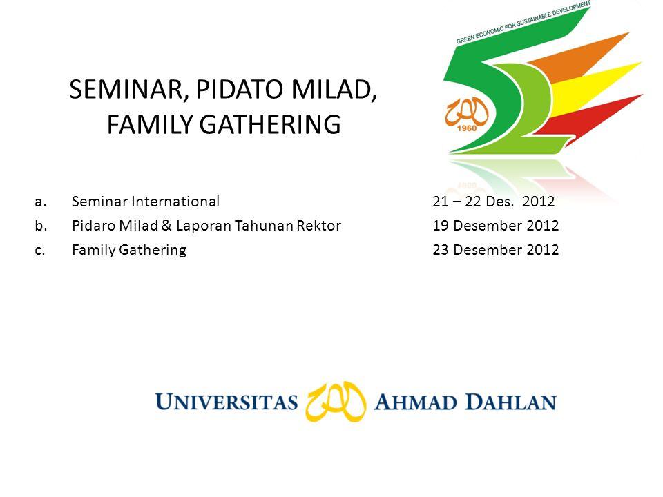 SEMINAR, PIDATO MILAD, FAMILY GATHERING a.Seminar International21 – 22 Des. 2012 b.Pidaro Milad & Laporan Tahunan Rektor19 Desember 2012 c.Family Gath