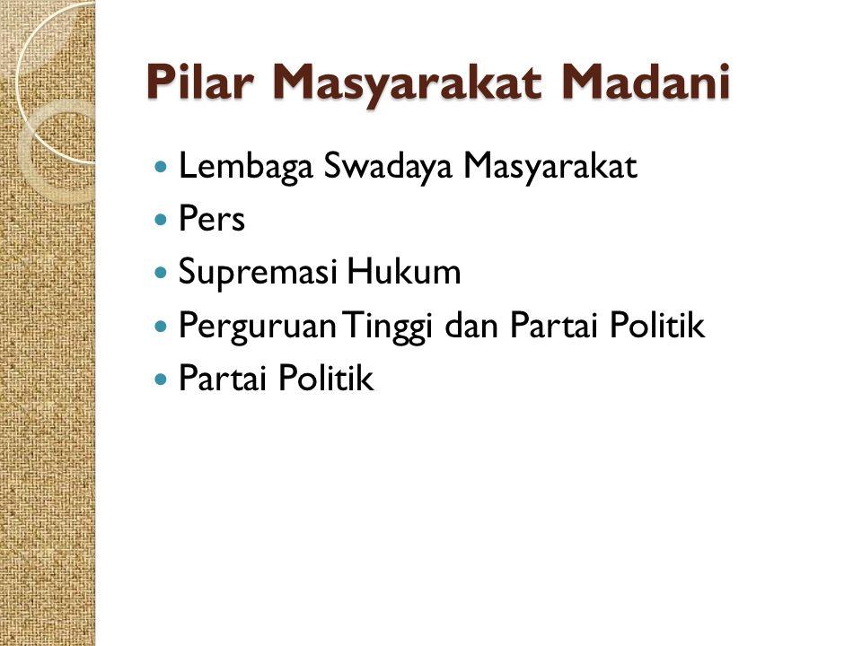 Pilar Masyarakat Madani Lembaga Swadaya Masyarakat Pers Supremasi Hukum Perguruan Tinggi dan Partai Politik Partai Politik