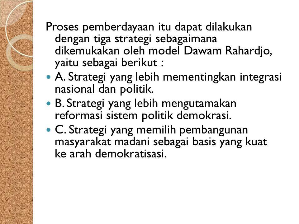 Proses pemberdayaan itu dapat dilakukan dengan tiga strategi sebagaimana dikemukakan oleh model Dawam Rahardjo, yaitu sebagai berikut : A. Strategi ya