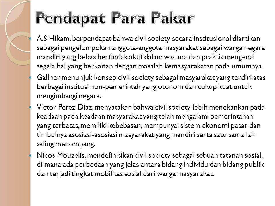 Eisenstadl, mengatakan bahwa civil society adalah sebuah masyarakat baik secara individual maupun secara kelompok, dalam negara yang mampu berinteraksi dengan negara secara independen.