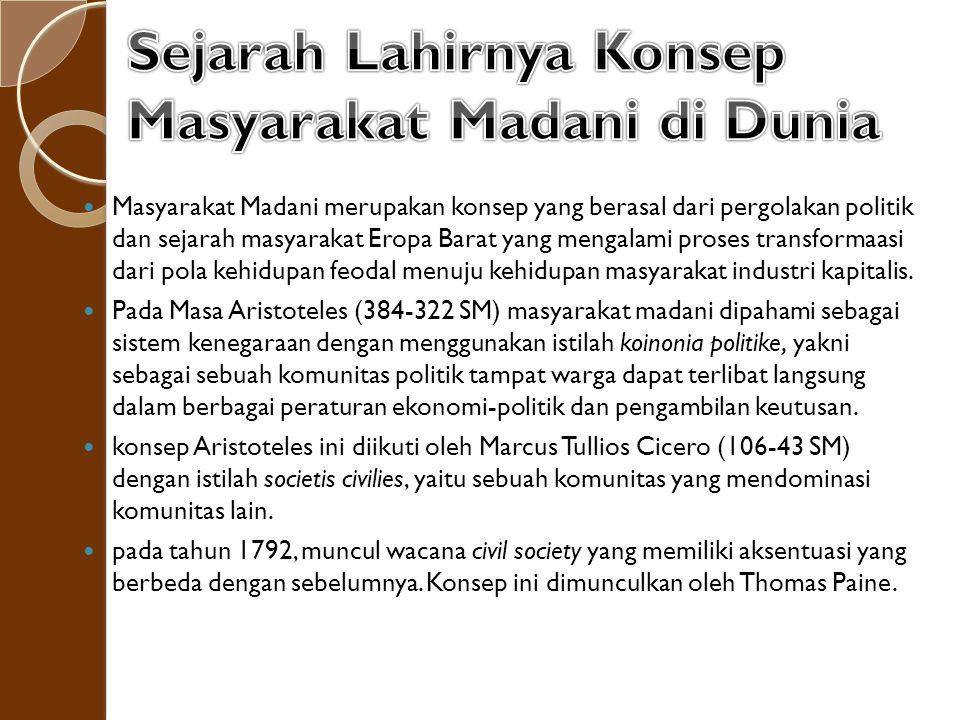 Di Indonesia, masyarakat madani diperkenalkan pertama kali oleh Anwar Ibrahim dalam ceramah Simposium Nasional dalam rangka Forum Ilmiah pada Festival Istiqlal, 26 September 1995 Jakarta.