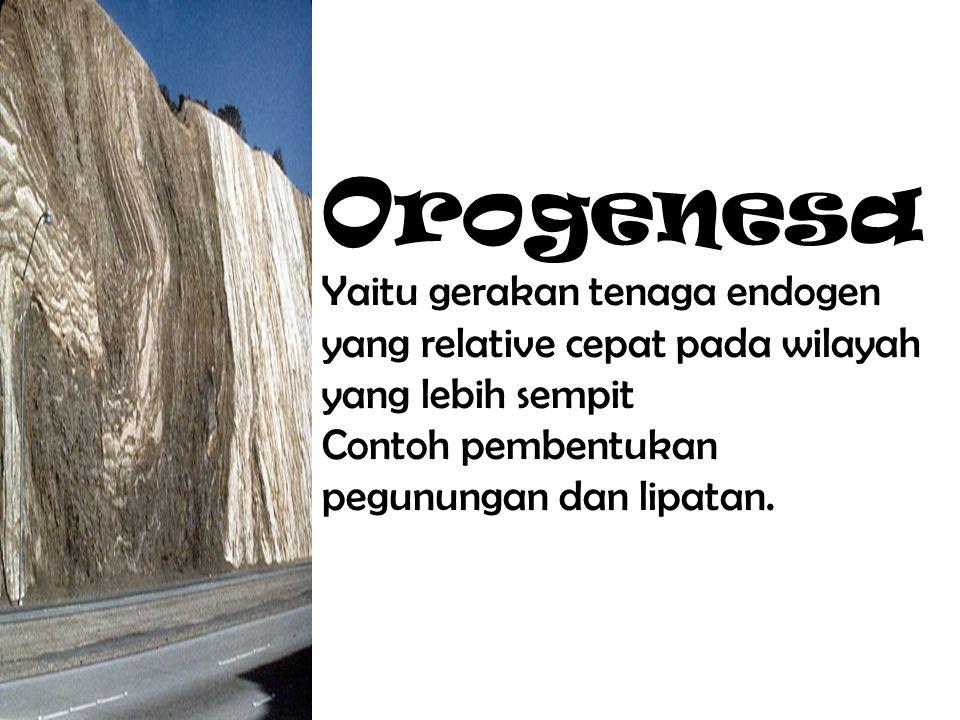 Orogenesa Yaitu gerakan tenaga endogen yang relative cepat pada wilayah yang lebih sempit Contoh pembentukan pegunungan dan lipatan.