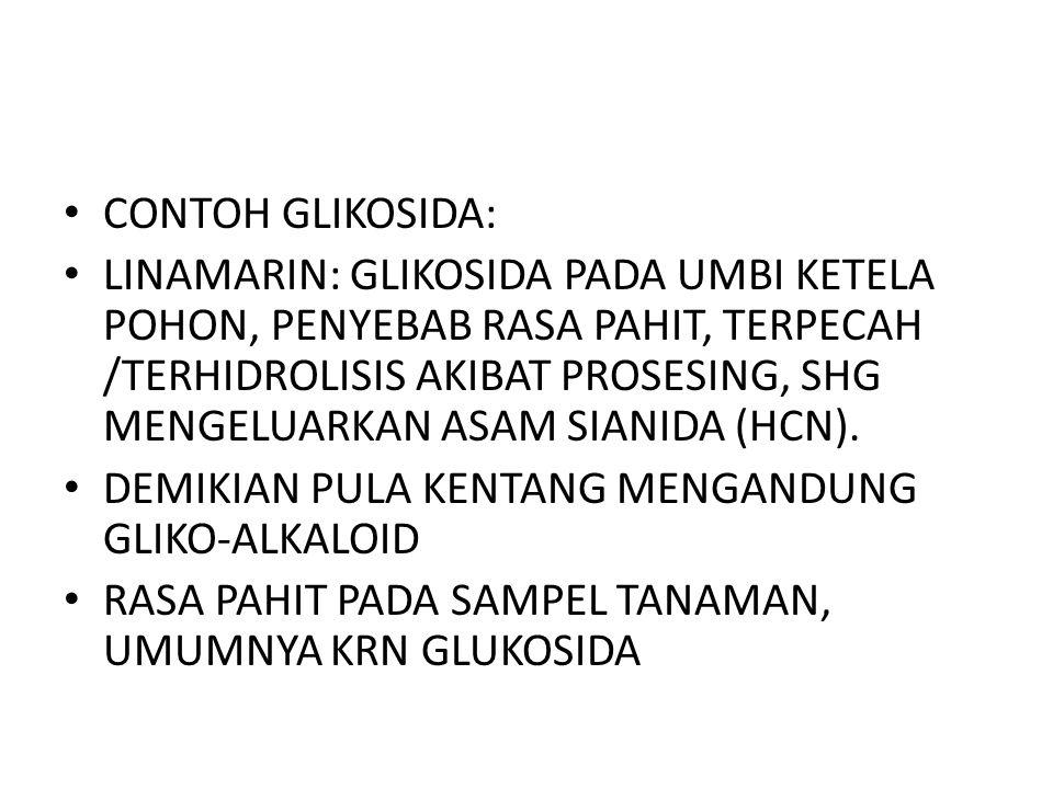 CONTOH GLIKOSIDA: LINAMARIN: GLIKOSIDA PADA UMBI KETELA POHON, PENYEBAB RASA PAHIT, TERPECAH /TERHIDROLISIS AKIBAT PROSESING, SHG MENGELUARKAN ASAM SIANIDA (HCN).