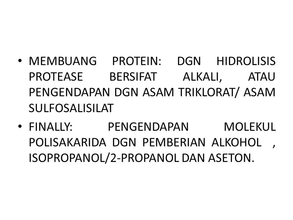 MEMBUANG PROTEIN: DGN HIDROLISIS PROTEASE BERSIFAT ALKALI, ATAU PENGENDAPAN DGN ASAM TRIKLORAT/ ASAM SULFOSALISILAT FINALLY: PENGENDAPAN MOLEKUL POLISAKARIDA DGN PEMBERIAN ALKOHOL, ISOPROPANOL/2-PROPANOL DAN ASETON.
