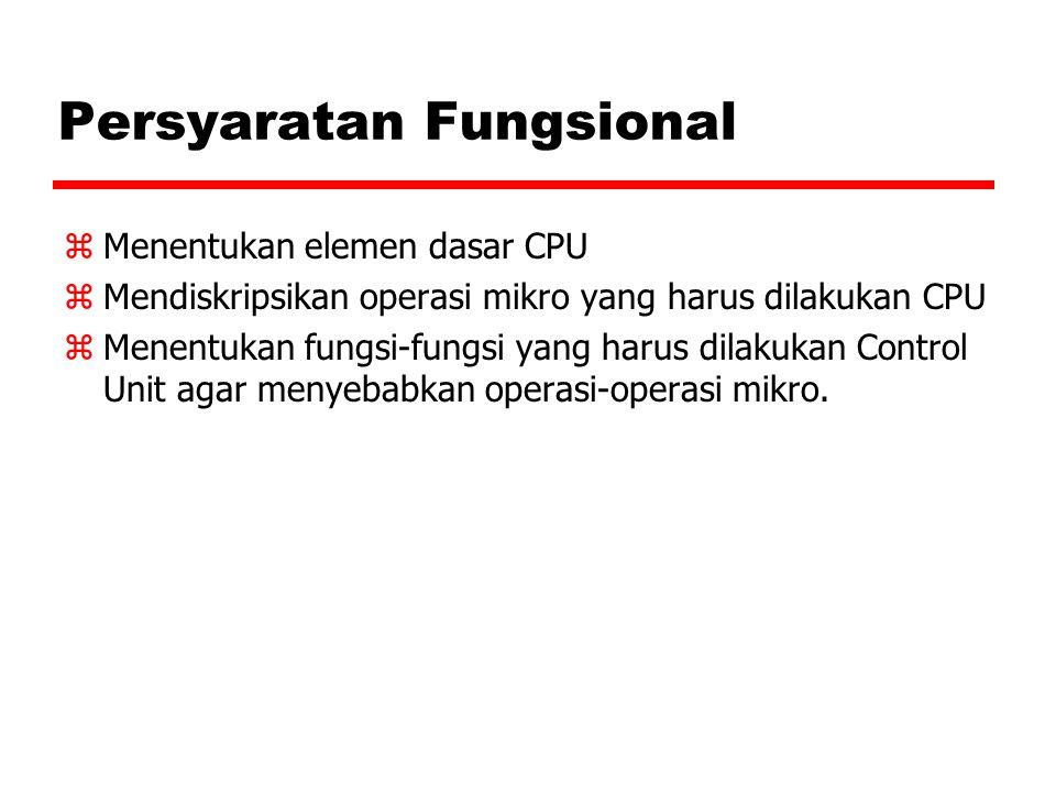 Persyaratan Fungsional zMenentukan elemen dasar CPU zMendiskripsikan operasi mikro yang harus dilakukan CPU zMenentukan fungsi-fungsi yang harus dilak