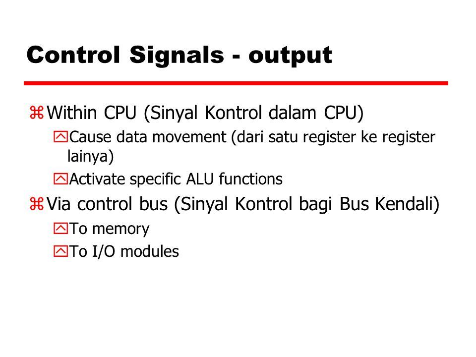 Control Signals - output zWithin CPU (Sinyal Kontrol dalam CPU) yCause data movement (dari satu register ke register lainya) yActivate specific ALU fu