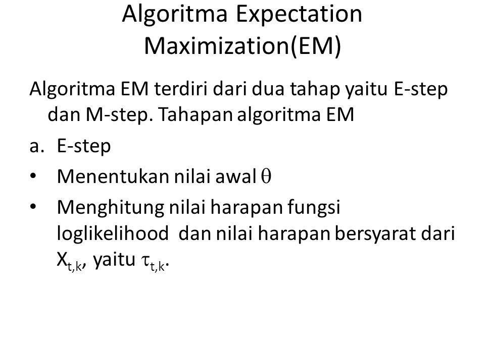 Algoritma Expectation Maximization(EM) Algoritma EM terdiri dari dua tahap yaitu E-step dan M-step. Tahapan algoritma EM a.E-step Menentukan nilai awa