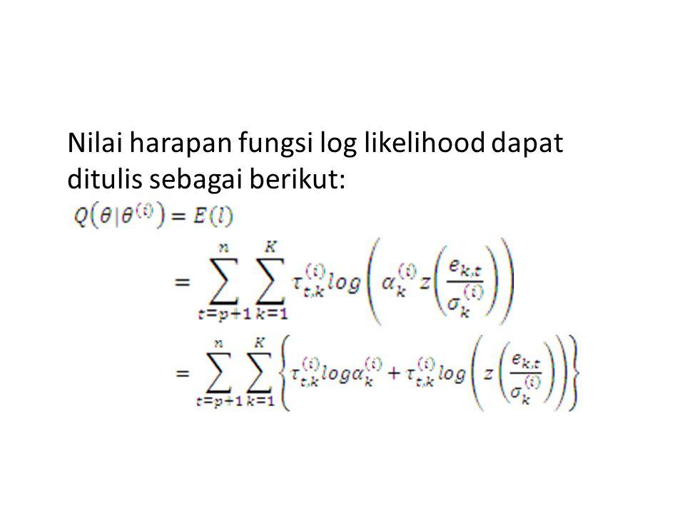 Nilai harapan fungsi log likelihood dapat ditulis sebagai berikut: