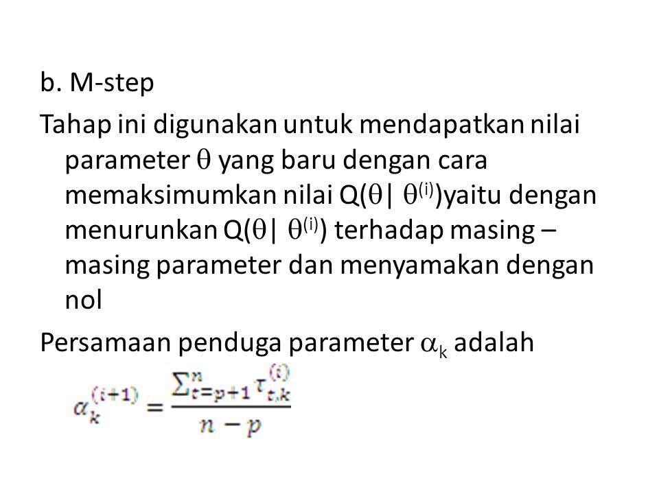b. M-step Tahap ini digunakan untuk mendapatkan nilai parameter  yang baru dengan cara memaksimumkan nilai Q(  |  (i) )yaitu dengan menurunkan Q( 