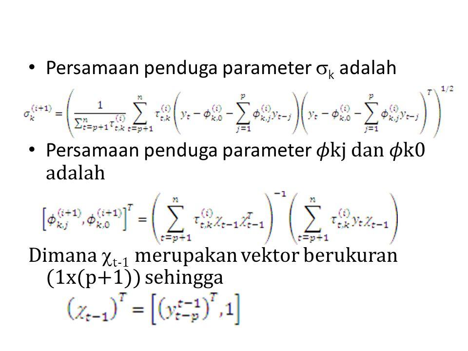 Persamaan penduga parameter  k adalah Persamaan penduga parameter kj dan k0 adalah Dimana  t-1 merupakan vektor berukuran (1x(p+1)) sehingga