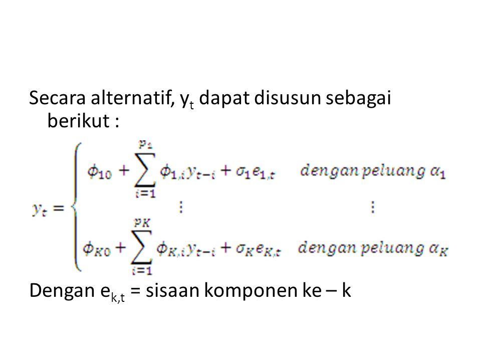 Model MAR dengan dua komponen, masing – masing berorde 1 atau AR (1) dengan proporsi masing – masing komponen adalah α1 dan α2 dapat ditulis sebagai model MAR (2;1,1) sebagai berikut Dengan kondisi stasioner model MAR (2;1,1) dan