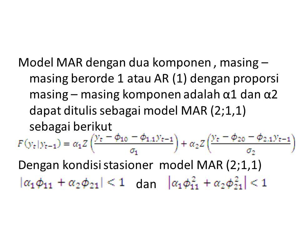 Model MAR dengan dua komponen, masing – masing berorde 1 atau AR (1) dengan proporsi masing – masing komponen adalah α1 dan α2 dapat ditulis sebagai m