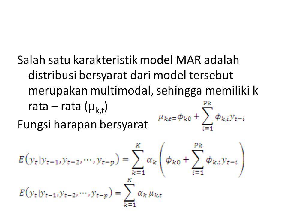 Salah satu karakteristik model MAR adalah distribusi bersyarat dari model tersebut merupakan multimodal, sehingga memiliki k rata – rata (  k,t ) Fun