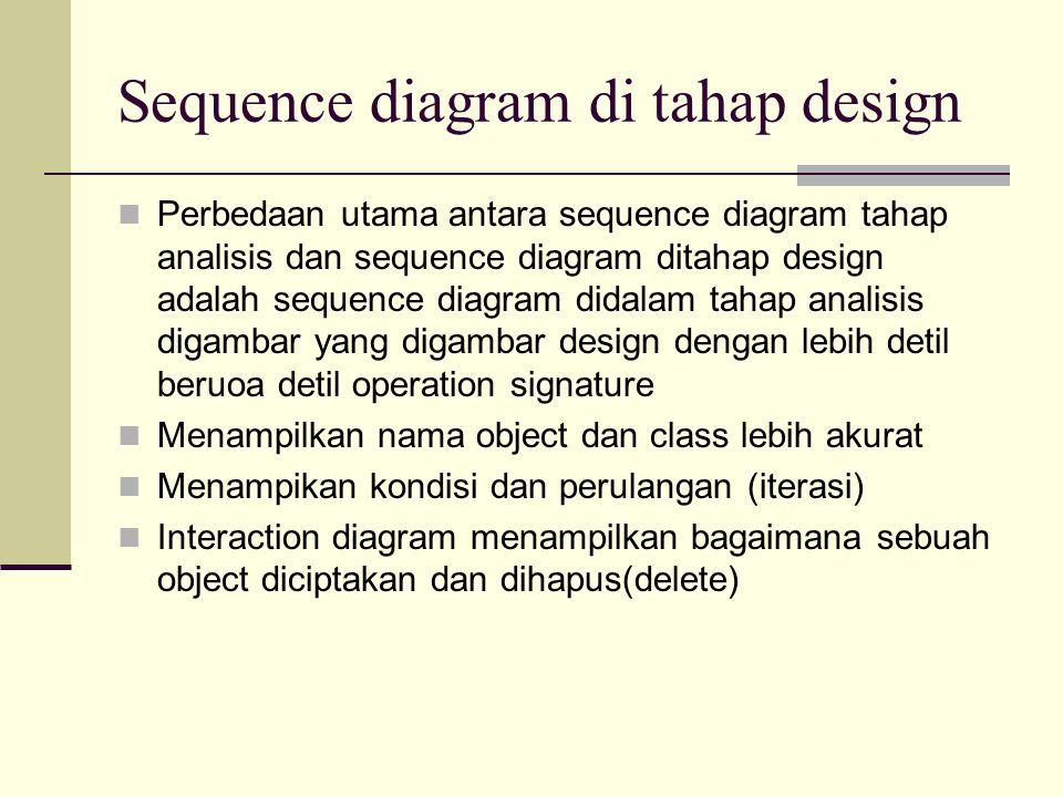 Sequence diagram di tahap design Perbedaan utama antara sequence diagram tahap analisis dan sequence diagram ditahap design adalah sequence diagram didalam tahap analisis digambar yang digambar design dengan lebih detil beruoa detil operation signature Menampilkan nama object dan class lebih akurat Menampikan kondisi dan perulangan (iterasi) Interaction diagram menampilkan bagaimana sebuah object diciptakan dan dihapus(delete)