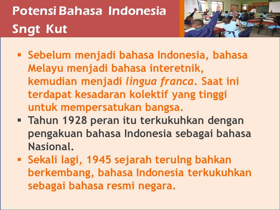 Perkembngn Bahasa Indonesia Sngt Bik  perekam keputusan-keputusan politik  pemerlancar percaturan sosial  llu lints ekonomi  pemikirn-pemikirn dm duni ilmu  pendokumentsi perundng-undngn  Sebgi B-1, penutur sli bhs Indonesia berkembng terus  Sebgi B-2, penutur memencr; kurikulum SD kels rendh BD, tetpi prktikny BI  Sebgi B-, S, Belnd, Ceko, Inggris, Itli, Jermn, Jepng, ustrli, Mesir, Pkistn, dsb.