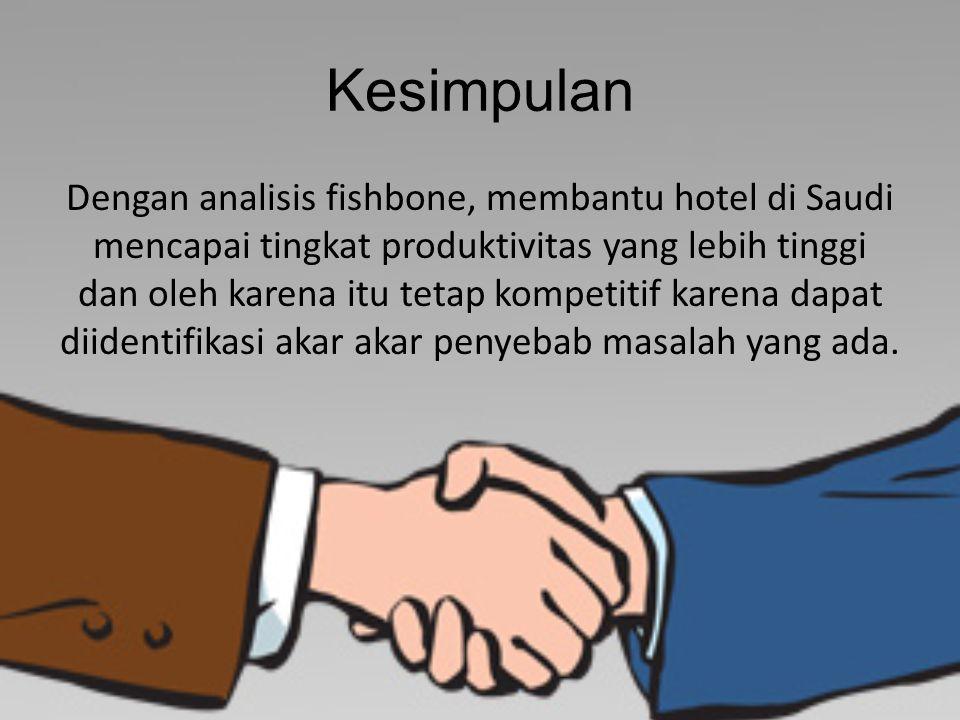 Kesimpulan Dengan analisis fishbone, membantu hotel di Saudi mencapai tingkat produktivitas yang lebih tinggi dan oleh karena itu tetap kompetitif karena dapat diidentifikasi akar akar penyebab masalah yang ada.