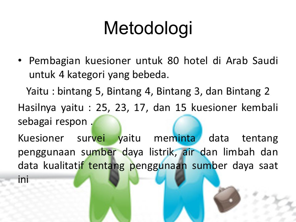 Metodologi Pembagian kuesioner untuk 80 hotel di Arab Saudi untuk 4 kategori yang bebeda. Yaitu : bintang 5, Bintang 4, Bintang 3, dan Bintang 2 Hasil