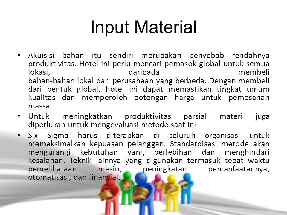 Input Material Akuisisi bahan itu sendiri merupakan penyebab rendahnya produktivitas. Hotel ini perlu mencari pemasok global untuk semua lokasi, darip