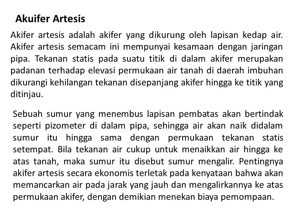 Akuifer Artesis Akifer artesis adalah akifer yang dikurung oleh lapisan kedap air.