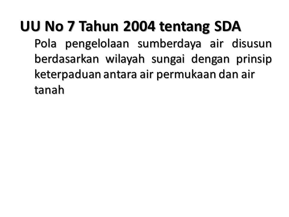 UU No 7 Tahun 2004 tentang SDA Pola pengelolaan sumberdaya air disusun berdasarkan wilayah sungai dengan prinsip keterpaduan antara air permukaan dan air tanah