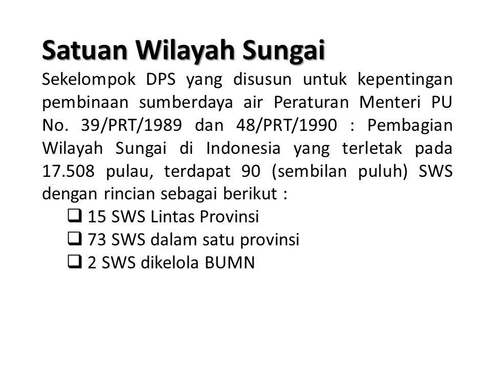 Satuan Wilayah Sungai Sekelompok DPS yang disusun untuk kepentingan pembinaan sumberdaya air Peraturan Menteri PU No.