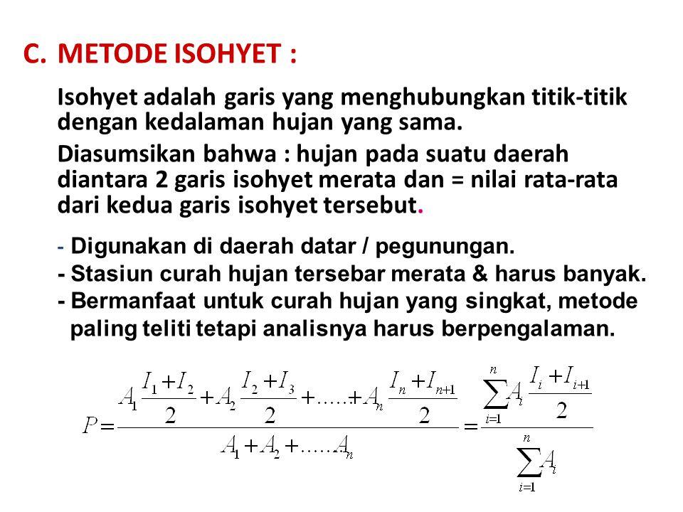 C.METODE ISOHYET : Isohyet adalah garis yang menghubungkan titik-titik dengan kedalaman hujan yang sama.