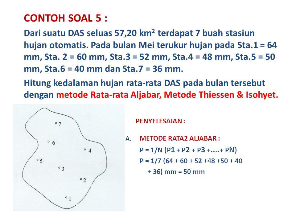 CONTOH SOAL 5 : Dari suatu DAS seluas 57,20 km 2 terdapat 7 buah stasiun hujan otomatis.