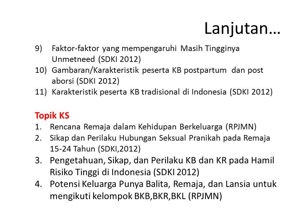 Lanjutan… 9)Faktor-faktor yang mempengaruhi Masih Tingginya Unmetneed (SDKI 2012) 10)Gambaran/Karakteristik peserta KB postpartum dan post aborsi (SDK