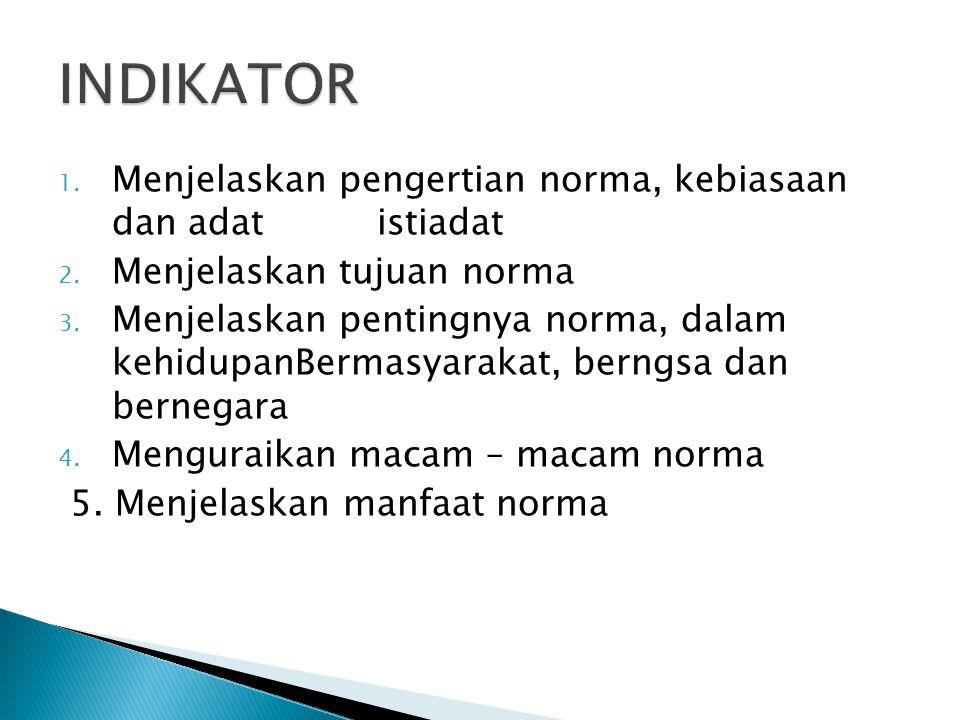 1. Menjelaskan pengertian norma, kebiasaan dan adat istiadat 2. Menjelaskan tujuan norma 3. Menjelaskan pentingnya norma, dalam kehidupanBermasyarakat