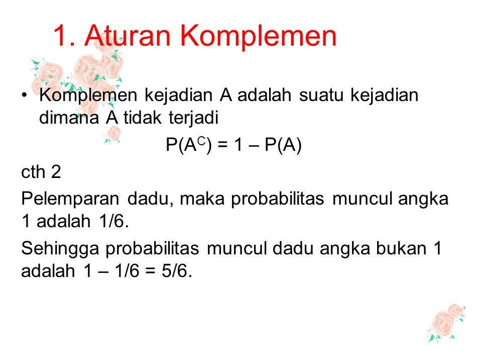 1. Aturan Komplemen Komplemen kejadian A adalah suatu kejadian dimana A tidak terjadi P(A C ) = 1 – P(A) cth 2 Pelemparan dadu, maka probabilitas munc