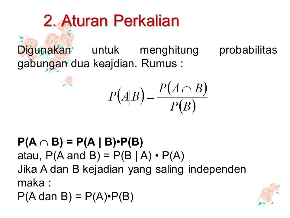 2. Aturan Perkalian Digunakan untuk menghitung probabilitas gabungan dua keajdian. Rumus : P(A  B) = P(A | B)P(B) atau, P(A and B) = P(B | A) P(A) Ji