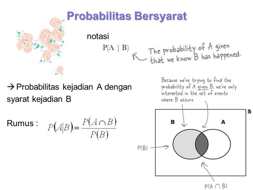 Probabilitas Bersyarat  Probabilitas kejadian A dengan syarat kejadian B Rumus : notasi