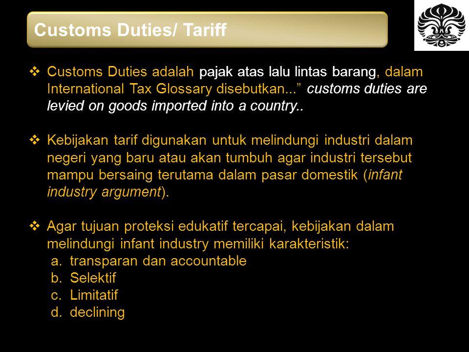  Customs Duties adalah pajak atas lalu lintas barang, dalam International Tax Glossary disebutkan... customs duties are levied on goods imported into a country..