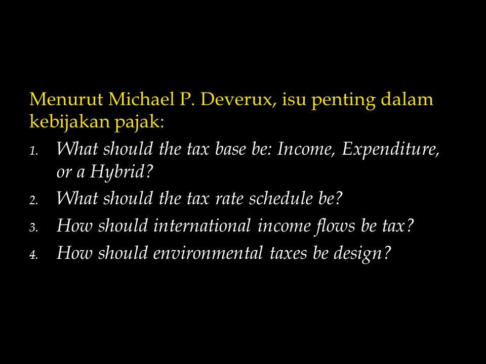 Menurut Michael P.Deverux, isu penting dalam kebijakan pajak: 1.