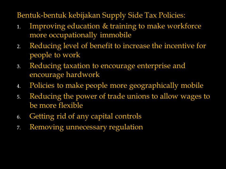 Bentuk-bentuk kebijakan Supply Side Tax Policies: 1.